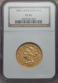 1842 $10 Large Date XF45 NGC. NGC Census: (39/105). PCGS Population (23/47). Mintage: 81,507. From The Pennsylvan...(PCG...