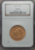 Liberty Eagles, 1894-S $10 AU55 NGC. NGC Census: (35/58). PCGS Population (23/21). Mintage: 25,000. . From The Pennsylvania Common ...