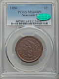 1850 1C N-7, R.2, MS64 Brown PCGS. CAC. PCGS Population (4/3). NGC Census: (7/8). CDN Wsl. Price for problem free NGC/PC...