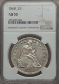Seated Dollars: , 1868 $1 AU55 NGC. NGC Census: (20/32). PCGS Population (19/45). Mintage: 162,100. . From the Dr. Bruce Mesara Collectio...