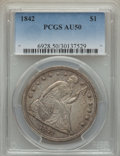 Seated Dollars: , 1842 $1 AU50 PCGS. PCGS Population (99/269). NGC Census: (62/314). Mintage: 184,618. CDN Wsl. Price for problem free NGC/PC...