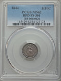Seated Half Dimes, 1844 H10C Repunched Date, V-3c, FS-301, MS62 PCGS. PCGS Population (1/2). ...