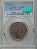 1843 1C Petite Head, Small Letters, MS63 Brown PCGS. CAC. PCGS Population (19/34). NGC Census: (13/24). Mintage: 2,425,3...