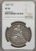 Seated Dollars: , 1849 $1 XF45 NGC. NGC Census: (38/230). PCGS Population (74/247). Mintage: 62,600. . From the Dr. Bruce Mesara Collecti...
