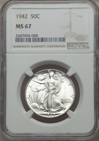 1942 50C MS67 NGC. NGC Census: (389/3). PCGS Population (343/6). Mintage: 47,839,120. CDN Wsl. Price for problem free NG...
