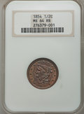 1854 1/2 C C-1, B-1, R.1, MS64 Red and Brown NGC. NGC Census: (51/23). PCGS Population (1/1). Mintage: 55,358. CDN Wsl...
