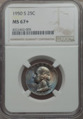 Washington Quarters, 1950-S 25C MS67+ NGC. NGC Census: (222/2 and 2/0+). PCGS Population(93/1 and 13/0+). Mintage: 10,284,004. ...