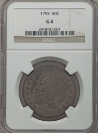 1795 50C 2 Leaves Good 4 NGC. NGC Census: (29/694). PCGS Population (57/1616). Mintage: 299,680. CDN Wsl. Price for prob...