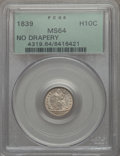 Seated Half Dimes, 1839 H10C No Drapery MS64 PCGS. PCGS Population (51/50). NGC Census: (60/69). Mintage: 1,069,150. CDN Wsl. Price for proble...