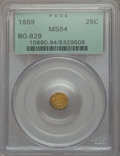 California Fractional Gold , 1869 25C Liberty Round 25 Cents, BG-829, Low R.5, MS64 PCGS. PCGSPopulation (3/0). NGC Census: (7/123). Ex: Superior Stam...