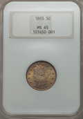Liberty Nickels: , 1893 5C MS65 NGC. NGC Census: (76/15). PCGS Population (87/35). Mintage: 13,370,195. CDN Wsl. Price for problem free NGC/PC...