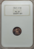 Seated Half Dimes: , 1847 H10C MS65 NGC. NGC Census: (18/20). PCGS Population (19/19). Mintage: 1,274,000. CDN Wsl. Price for problem free NGC/P...