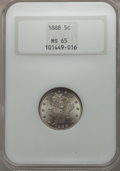 Liberty Nickels: , 1888 5C MS65 NGC. NGC Census: (47/12). PCGS Population (64/19). Mintage: 10,720,483. CDN Wsl. Price for problem free NGC/PC...