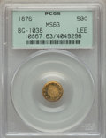 California Fractional Gold , 1876 50C Indian Round 50 Cents, BG-1038, R.4, MS63 PCGS. PCGSPopulation (13/4). NGC Census: (2/2). ...