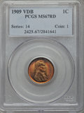 1909 1C VDB MS67 Red PCGS. PCGS Population (251/1). NGC Census: (82/1). Mintage: 27,995,000. From The Al Anthony Coll...