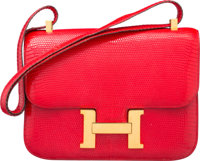 Hermes 23cm Rouge Vif Salvator Lizard Constance Bag with Gold Hardware Circa 1980's Very Good Condition 9
