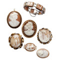 Estate Jewelry:Cameos, Shell Cameo, Gold, Silver, Base Metal Jewelry. ... (Total: 7 Items)