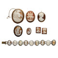 Estate Jewelry:Cameos, Shell Cameo, Marcasite, Gold, Silver, Silver Vermeil, Base Metal Jewelry. . ... (Total: 7 Items)