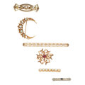 Estate Jewelry:Brooches - Pins, Diamond, Multi-Stone, Freshwater Cultured Pearl, Gold Brooches. ...(Total: 5 Items)