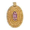 Estate Jewelry:Pendants and Lockets, Amethyst, Gold Pendant. . ...