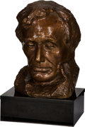 Antiques:Decorative Americana, Abraham Lincoln: Large Bronze Sculpture by Gutzon Borglum withSigned Theodore Roosevelt Program.... (Total: 2 Items)
