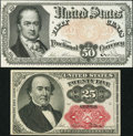 Fractional Currency:Fifth Issue, Fr. 1309 25¢ Fifth Issue Very Fine;. Fr. 1380 50¢ Fifth Issue About Uncirculated.. ... (Total: 2 notes)