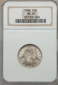 1908 25C MS65 NGC. NGC Census: (12/6). PCGS Population (35/24). Mintage: 4,232,545. CDN Wsl. Price for problem free NGC/...