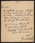 Books:Literature 1900-up, Larry McMurtry. Autograph Letter Signed. 5/19[/1966]. One quartosheet, in which McMurtry mentions The Last Picture Show....