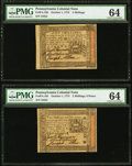 Colonial Notes:Pennsylvania, Pennsylvania October 1, 1773 18d, 2s, 2s/6d and 5s PMG ChoiceUncirculated 63, 63, 64 and 64.. ... (Total: 4 notes)