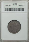 Half Cents: , 1804 1/2 C Crosslet 4, Stems AU50 ANACS. Pleasing olive-brown surfaces with a few small marks, housed in an early generatio...