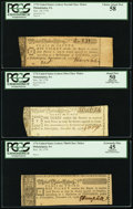 Colonial Notes:Continental Congress Issues, Continental Congress Lottery Ticket Group PCGS 58, Apparent 50 andApparent 45.. ... (Total: 3 items)
