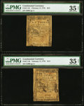 Colonial Notes:Continental Congress Issues, Continental Currency Notes February 17, 1776 $1/3 PMG Choice VeryFine 35 Net and $2/3 PMG Choice Very Fine 35 Net.. ... (Total: 2notes)