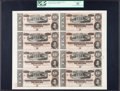 Confederate Notes, T68 $10 1864 PF-44 Cr. 552 Sheet of Eight Notes.. ...