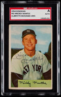 Baseball Cards:Singles (1950-1959), Signed 1954 Bowman Mickey Mantle #65 SGC Authentic. ...