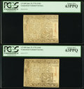 Colonial Notes:Connecticut, Connecticut June 19, 1776 1s/6d Two Notes Both PCGS Choice New63PPQ.. ... (Total: 2 notes)