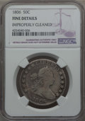 Early Half Dollars: , 1806 50C Pointed 6, Stem, -- Improperly Cleaned -- NGC Details.Fine. NGC Census: (53/790). PCGS Population (93/1018). Mint...