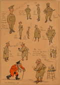 Mainstream Illustration, Henry Mayo Bateman (British, 1887-1970). A Simple Private WhoWished to Speak to his Colonel, 1915. Ink and watercolor o...