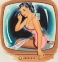 Pin-up and Glamour Art, Bill Randall (American, b. 1911). Miss Television. Gouacheon board. 14.75 x 14 in. (sight). Signed lower right. ...