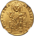 Ancients:Byzantine, Ancients: Basil I the Macedonian (AD 867-886), with Constantine. AVsolidus (4.42 gm)....