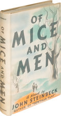 """Books:Literature 1900-up, John Steinbeck. Of Mice and Men. New York: Covici Friede,[1937]. First edition, first issue (""""pendula"""" on page 9, a..."""