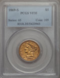 Liberty Half Eagles: , 1869-S $5 VF35 PCGS. PCGS Population (7/38). NGC Census: (4/86). Mintage: 31,000. . From The Ohio Valley Collection....
