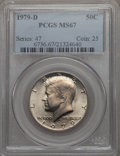 Kennedy Half Dollars, 1979-D 50C MS67 PCGS. PCGS Population (36/0). NGC Census: (5/0).Mintage: 15,815,422. . From The Bristol Collection....