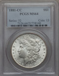 Morgan Dollars: , 1881-CC $1 MS64 PCGS. PCGS Population (7673/6279). NGC Census: (3657/3029). Mintage: 296,000. CDN Wsl. Price for problem fr...