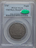 Colonials, 1787 FUGIO Fugio Cent, Club Rays, Rounded Ends, VG10 PCGS. CAC. PCGS Population (8/130). NGC Census: (0/56). . From Th...