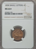 1858 1C Small Letters MS64+ NGC....(PCGS# 2020)