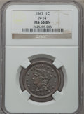 Large Cents, 1847 1C N-14, R.4, MS63 Brown NGC....