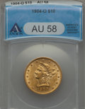 1904-O $10 AU58 ANACS. NGC Census: (164/463). PCGS Population (134/469). Mintage: 108,950. CDN Wsl. Price for problem fr...