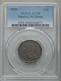 Half Cents: , 1806 1/2 C Small 6, No Stems AU50 PCGS. PCGS Population (72/228). Mintage: 356,000. CDN Wsl. Price for p...