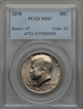 Kennedy Half Dollars, 1978 50C MS67 PCGS. PCGS Population (32/0). NGC Census: (10/0).Mintage: 14,350,000. . From The Bristol Collection....