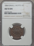 Two Cent Pieces, 1864 2C Small Motto AU55 NGC. NGC Census: (24/245). PCGS Population (32/200). Mintage: 19,847,500. ...